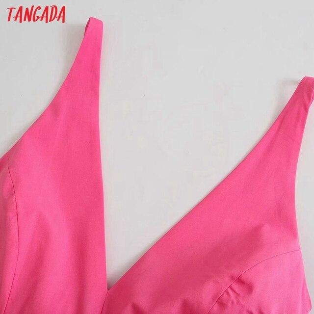 Tangada Women Pink Cotton Dress Back Bow Sleeveless Backless 2021 Summer Fashion Lady Dresses 3H130 3