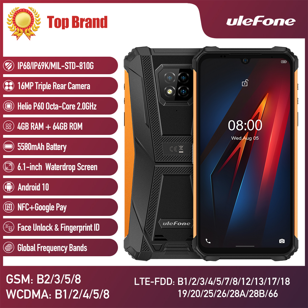 Ulefone Armor 8 Android 10 Rugged Mobile Phone Octa-core 6.1 inches Waterproof Smartphone 5G WiFi Helio P60 4GB 64GB CellPhone