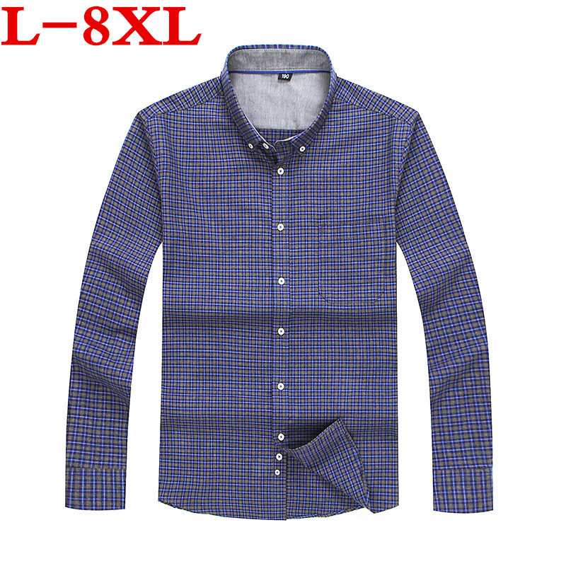 Plus Size New Arrival Mens Casual  Shirts  Men Long Sleeve  Fashion 100% Cotton Formal Dress Shirt Male Brand Clothing Loose Fit