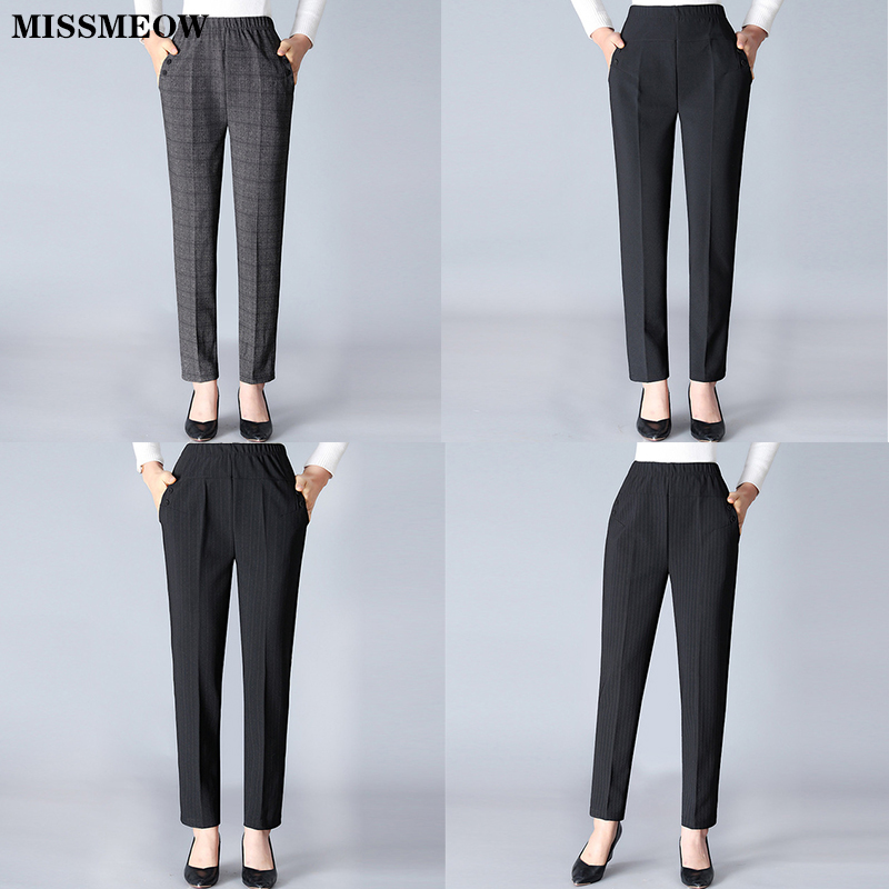 Missmeow Casual High Waist Pencil Pants Women Striped Straight Harem Pants Women Elastic Black/Office Pants Plus Size Trousers