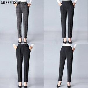Image 5 - Missmeow Casual High Waist Pencil Pants Women Striped Straight Harem Pants Women Elastic Black/Office Pants Plus Size Trousers