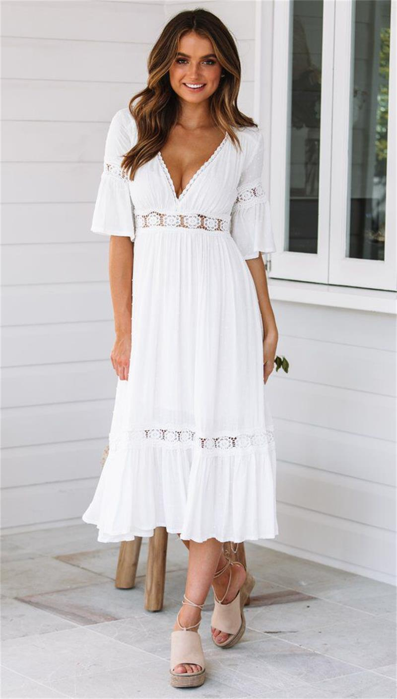 <font><b>White</b></font> <font><b>Dress</b></font> Maxi 2019 Summer Beach Tunic Women Sundress <font><b>Sexy</b></font> Lace Crochet Long Tunic Beach <font><b>Dress</b></font> Vestido Blanco Largo image