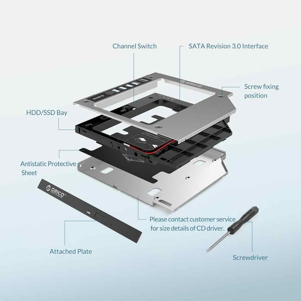 Orico, disco rígido de alumínio de 2.5 polegadas, gaiola de hdd ssd, gabinete de caixa de disco rígido de alumínio com 2tb baía de 6gbps hdd