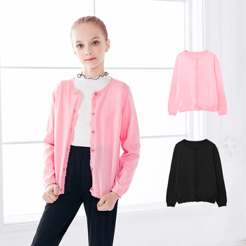 Teen Girls Cardigan Pink Black Tops Flounced Sweaters Kids Soft Dance Coat Knitted Cardigan Warm Sweaters kids children sweaters winter 2020 casual turtleneck knitted sweaters for girls warm boy sweaters cotton girls cardigan clothes