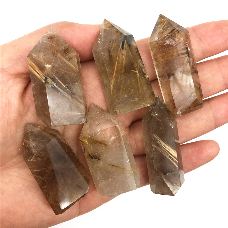 Beautiful 40-50mm Natural Golden Rutilated Quartz Crystal Point Stone Tower Energy Healing Natural Quartz Crystals