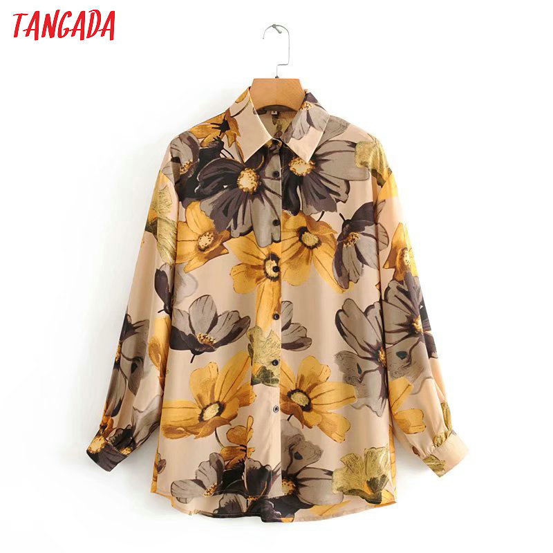 Tangada French Style Print Women Blouse Long Sleeve Chic Female Casual Loose Shirt Blusas Femininas 2J13