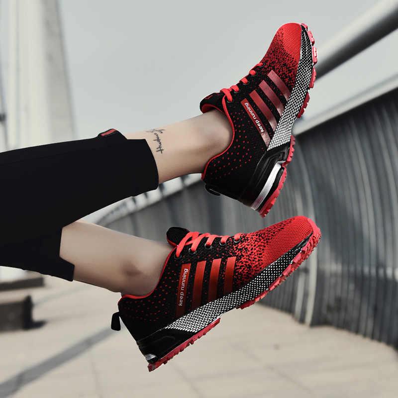 2018 erkekler spor ayakkabı nefes erkek koşu kırmızı hafif spor ayakkabı kadın yüksekliği artan nefes ayakkabı