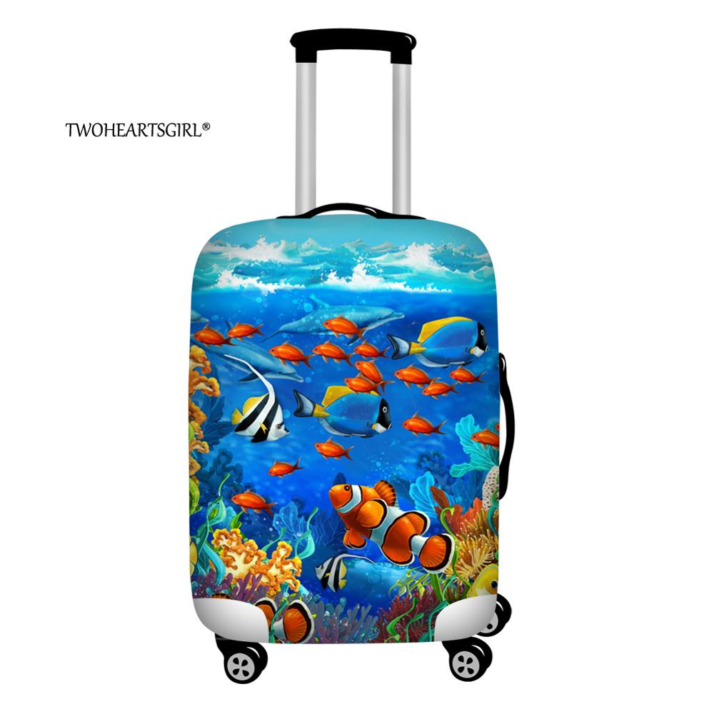 Twoheartsgril Underwater Sea Fish Travel Luggage Cover Protector Thick Elastic Trunk Case For 18-32inch  Dustproof Baggage Cover