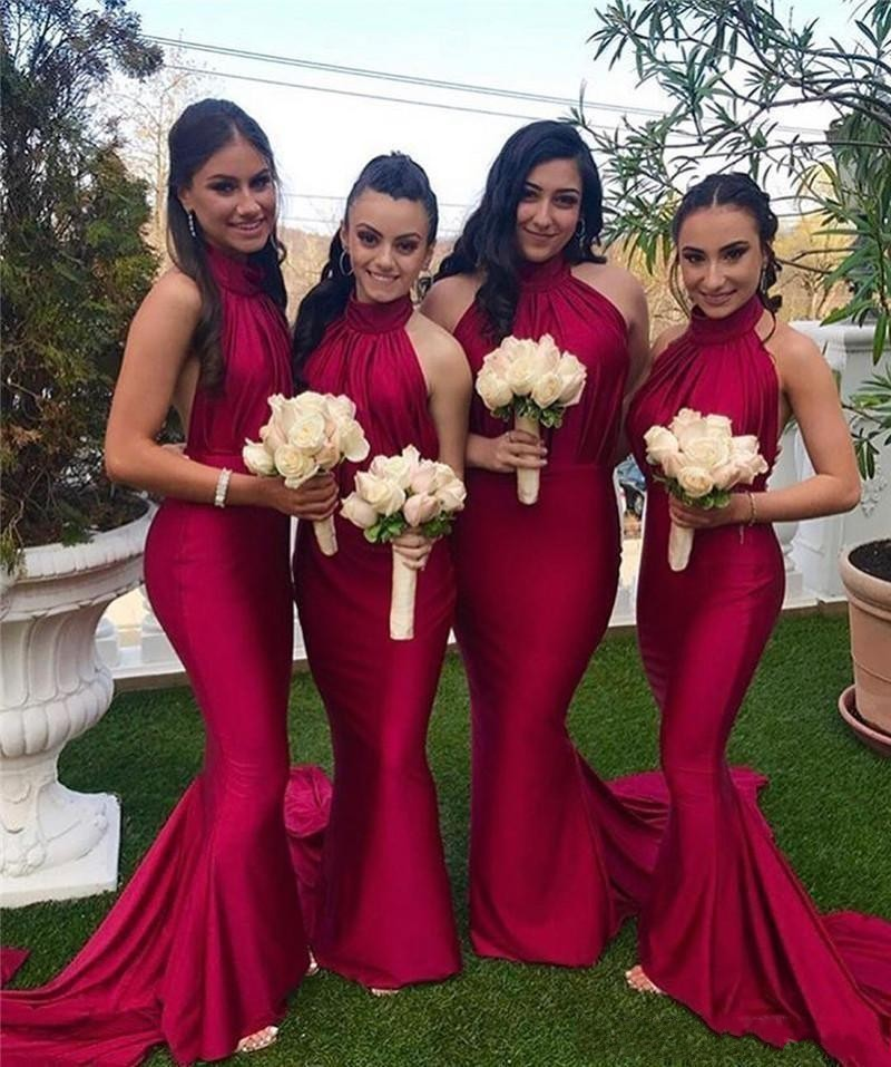 2020 Gorgeous Burgundy Mermaid Long Bridesmaids Dresses High Neck Slim Satin Party Wedding Guest Gowns  Spring Vestidos