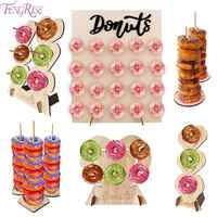 FENGRISE Wooden Donut Wall Stand Donut Holder Display Boards Table Decor Wedding Birthday Party Decoration Supplies Baby Shower