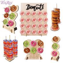 FENGRISE ahşap Donut duvar standı Donut tutucu ekran panoları masa süsü düğün doğum günü partisi dekorasyon malzemeleri bebek duş