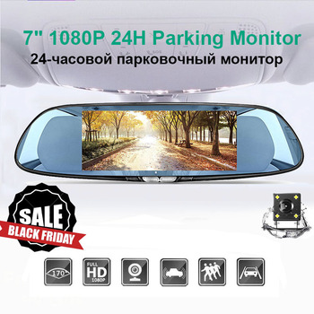 7 Inch Touch Screen Car DVR Dual Lens Rear view Camera Mirror Video Recorder Dash Cam Auto Video Recorder Parking Dash Cam image