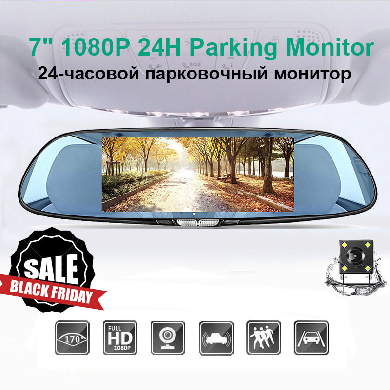 7 Inch Touch Screen Car DVR Dual Lens Rear view Camera <font><b>Mirror</b></font> Video Recorder <font><b>Dash</b></font> <font><b>Cam</b></font> Auto Video Recorder Parking <font><b>Dash</b></font> <font><b>Cam</b></font> image