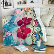 Одеяло Плюмерия С черепашками и гибискусом в полинезийском стиле