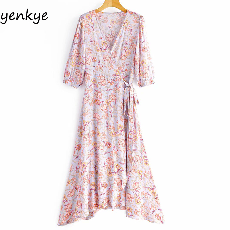 2020 женское повседневное длинное платье с цветочным принтом, женское платье трапециевидной формы с перекрещивающимся v-образным вырезом и к...