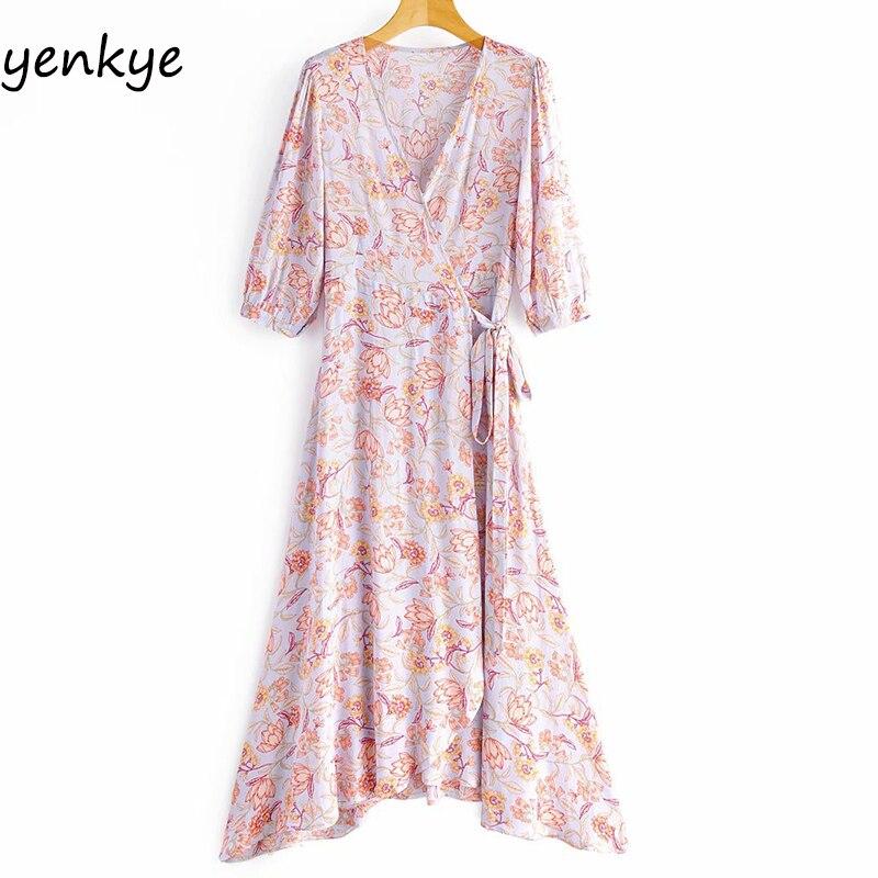 2020 Women Floral Print Casual  Wrap Long Dress Lady Cross V Neck  Half Sleeve A-line Holiday Beach Summer Dress SYJZ420