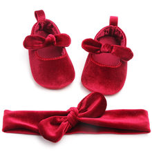 2019 Cute Newborn Baby Girl Velvet Shoes Toddler First Walkers Kid Shoes+Hairband Soft Sole Shoes Prewalker Spring First Walkers(China)