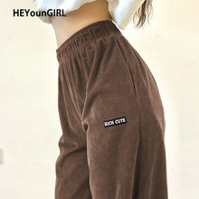 HEYounGIRL – pantalon en velours côtelé brodé avec lettres, marron, taille haute, élastique, slim, Vintage, survêtement, jogging, automne, décontracté