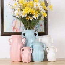Nordic home decoration nowy dom ceramiczny wazon vintage biały różowy niebieski wazony do dekoracji wnętrz
