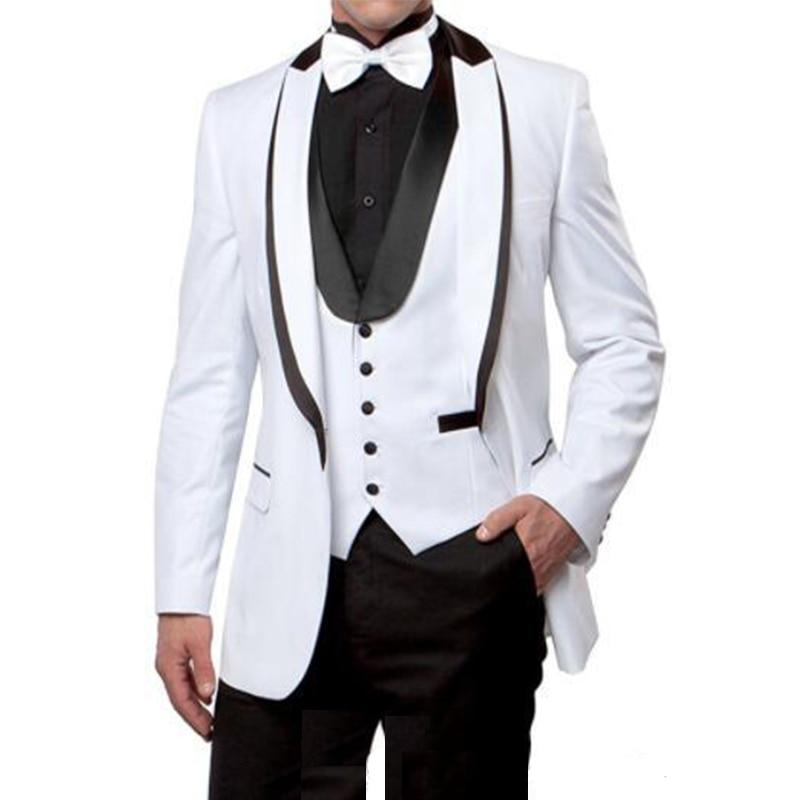One Button Groomsmen Shawl Lapel Groom 3 Piece Tuxedos Men Dinner Suit Wedding Dress Best Man Wear Dinne Wear(Jacket+Pants+Vest)