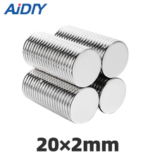 AI DIY 10Pcs 20mm x 2mm N35 Neodymium Magnet Sheet Round Super Strong Powerful Force Rare Earth Magnets Disc 20 ×