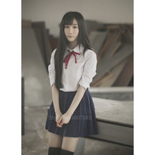Style japonais uniforme scolaire coréen collège fille étudiant JK uniformes marin Blouse robe ensemble Kawaii Cosplay femmes jupe Costume(China)