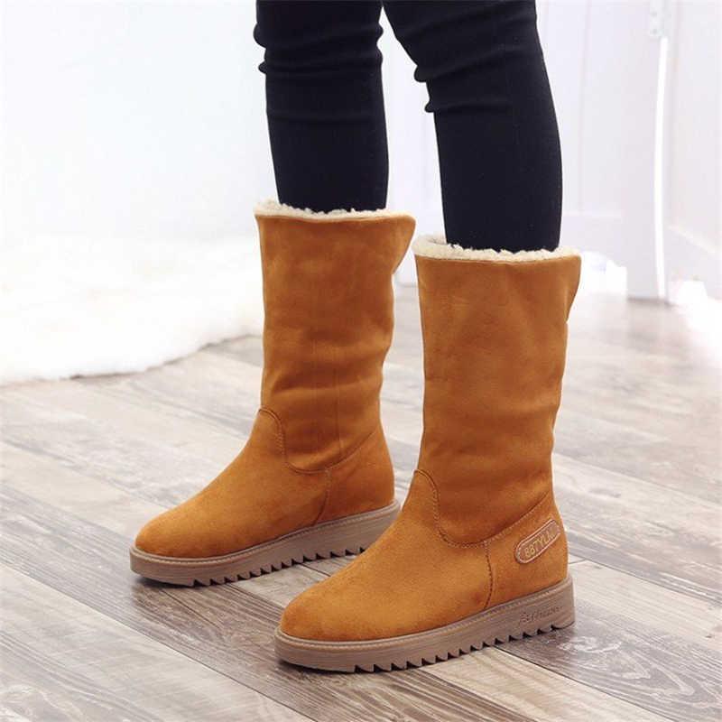 KARINLUNA yeni sıcak satış takozlar kaymaz patik bayanlar sıcak kürk ayak bileği kar botları kadın kış 2019 gündelik parti ayakkabıları kadın 2 yollu