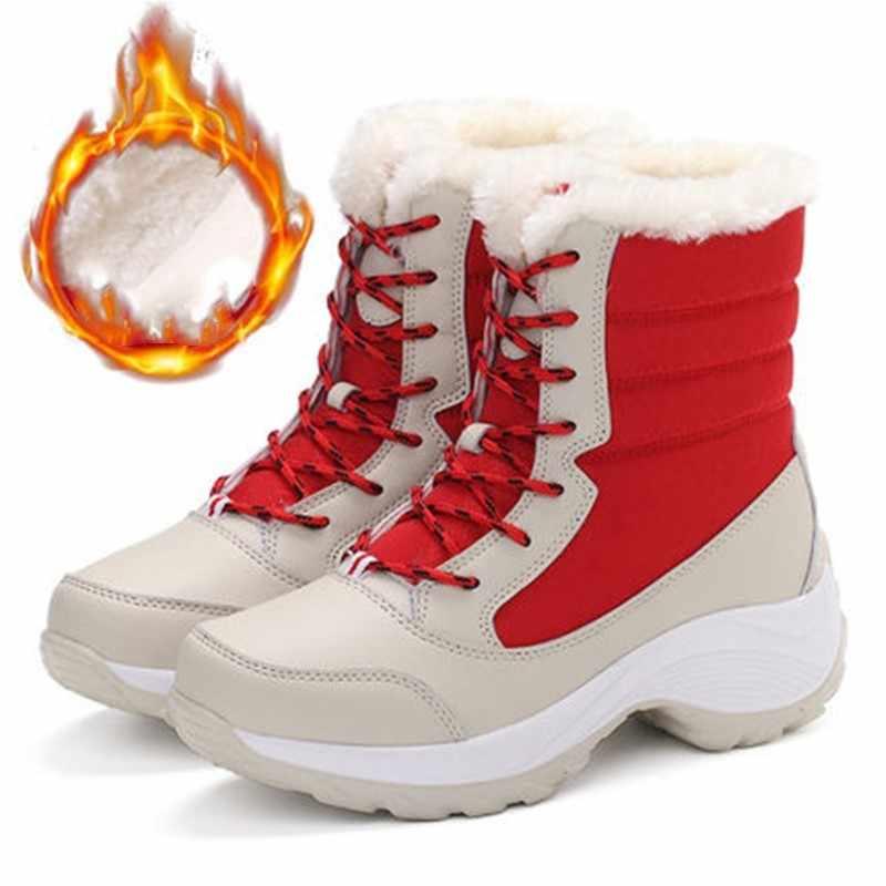ฤดูหนาวรองเท้าสตรีกลางแจ้งเดินป่า Trekking กันน้ำแพลตฟอร์มข้อเท้าหนาขนสัตว์ส้น Botas เล่นสกี Mujer