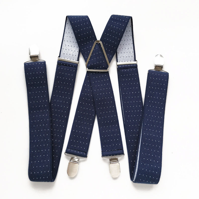 3.5CM Width Dot Printed Men's Suspenders High Quality 4 Clips Suspensorios Adjustable Elastic Braces Plus Size Women Party Wear