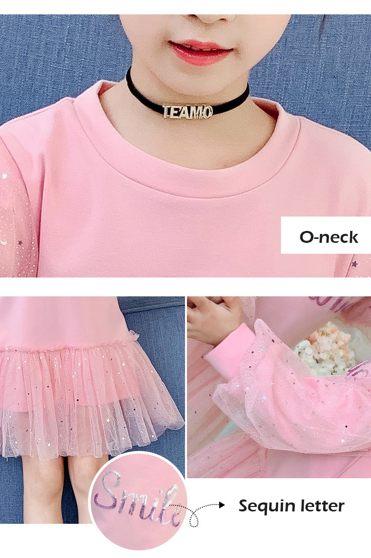 Boutique Kid Clothing 2020 Spring Little Girls School Dress Cotton O neck Sweater Dress Pink Long Sleeve Letter Dresses for Teen (4)