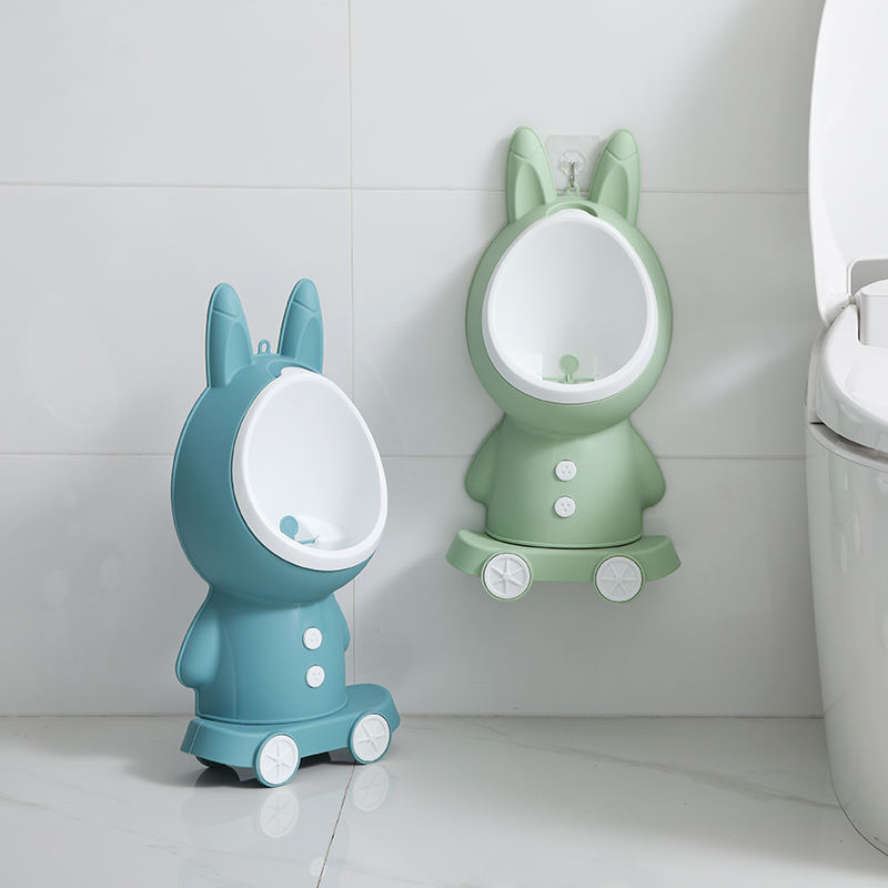 Baby Boy Wall-Mounted Hook Rabbit Potty Toilet Training Rabbit Stand Vertical Urinal Pee Infant Toddler Bathroom Urinal