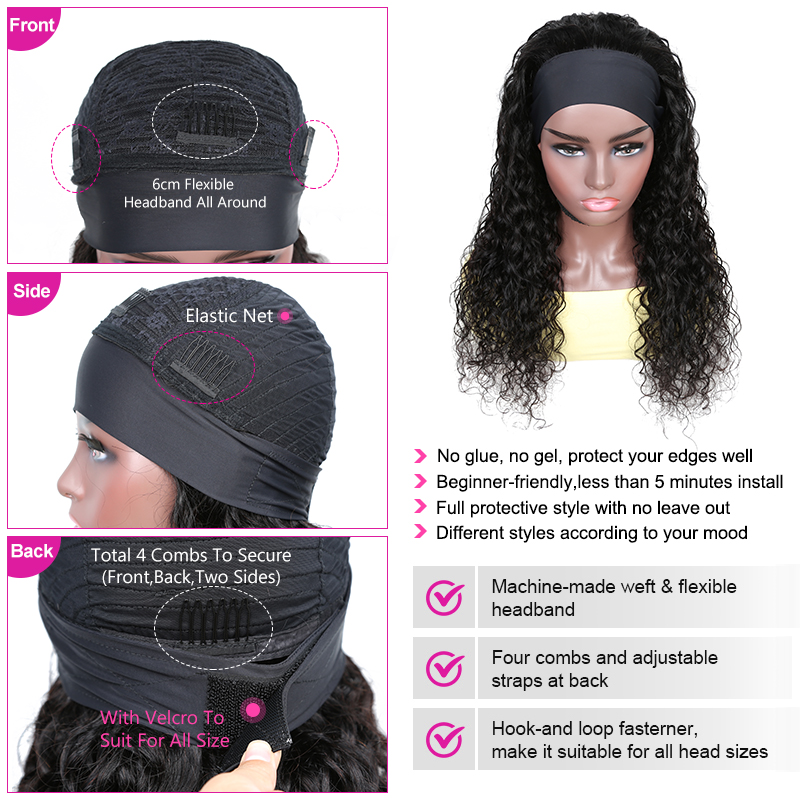YYong New Arrival Water Wave Short Headband Scarf Wig  Indian  Headband Wigs Natural Color Glueless Wig  4