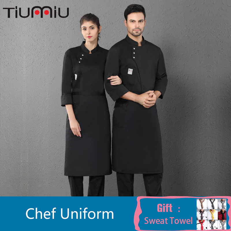 Oblique Collar Long Sleeve Chef Uniform Unisex Solid Color Overalls Cafe Catering Services Hotel Bakery Hair Salon Waiter Jacket