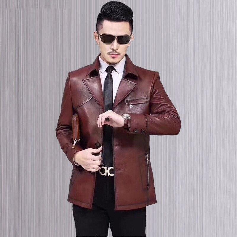 Genuine Leather Jacket Men Spring Autumn Short Real Sheepskin Coat Real Leather Jackets Veste Moto Homme 17039 YY370