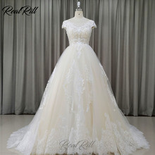 Real Rill Illusion Bateau Neck Wedding Dress 2019 Mariage Tulle Wedding Gowns With Lace Embroidery Lace Edge A Line Bride Dress