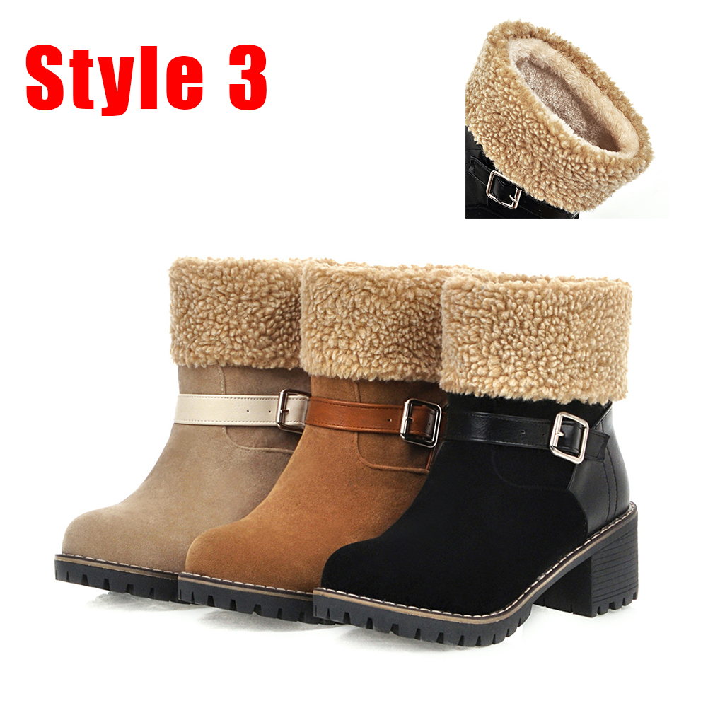 SARAIRIS New Hot Sale Plus Size 34 48 Leopard Booties Lady Winter Warm Non Slip Ankle Boots Women 2019 Low Heels Shoes Woman in Ankle Boots from Shoes