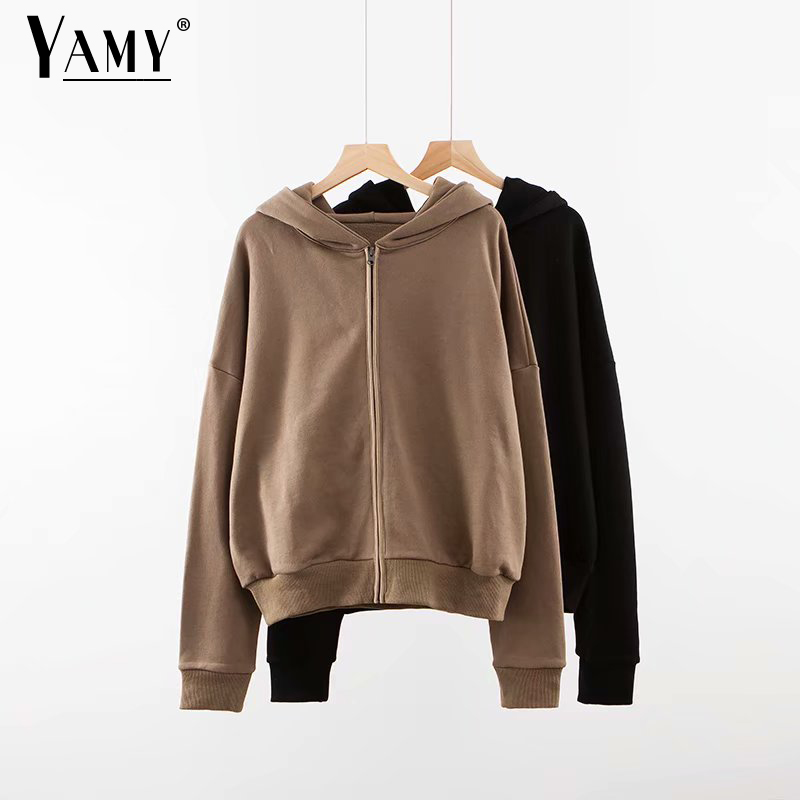 2020 Vintage Hoodies Women Zip Up Hoodie Long Sleeve Black Sweatshirt Women Punk Kawaii Hoodie Korean Streetwear