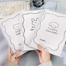Simple Cute ins Style Cartoons Cover Transparent Double Coil Ring Spiral Notebook Diary Blank Dot Grid Line Inside Paper B5
