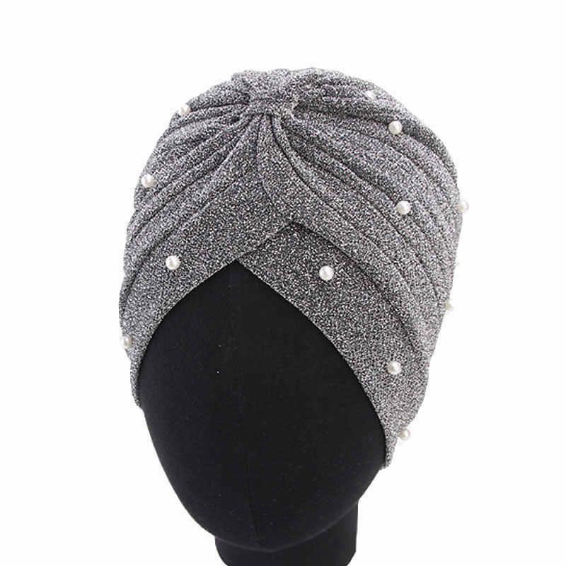 Femmes chapeau musulman Hijab Bling argent or noeud torsion perles perlée tête enveloppement indien casquette automne hiver décontracté femme chapeau chapeaux
