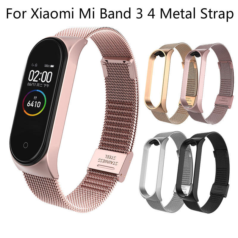 Smart Watch Bracelet Accessorie For Xiaomi For Xiaomi Mi Band 3 4 Metal Strap Wristband Stainless Steel Buckle Replacement Strap
