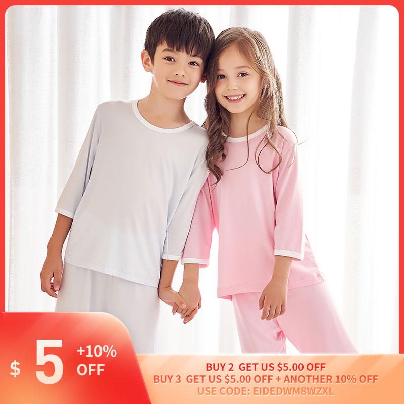 THREEGUN/Детские пижамы для мальчиков и девочек; Летняя Домашняя одежда из модала; Комплекты одежды для сна; Футболка с короткими рукавами + укороченные штаныКомплекты одежды   -