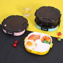 цена на Portable lunch box insulation 3 Compartment Compartment lunch Box leak-proof Microwave Student lunch Box With Chopsticks Spoon