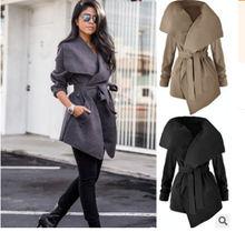 2020 осенне зимнее женское Новое Бандажное пальто хлопковая