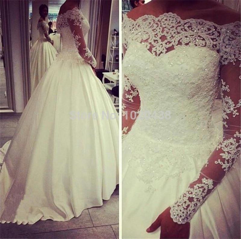 Romantic Sheer Lace Long Sleeves Wedding Dress 2015 Casamento Long Wedding Dresses Vestido De Noiva Custom Make Bridal Gowns