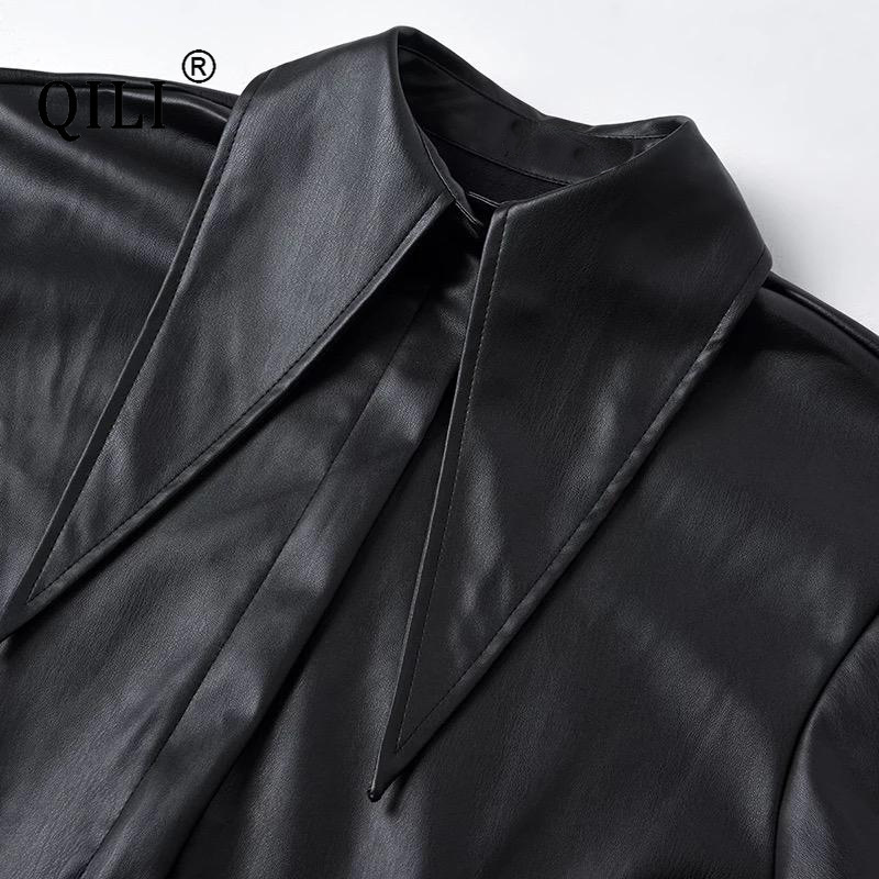 Купить qili черное платье из искусственной кожи с воротником стойкой