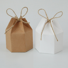 50pcs Lantern Hexagon Candy Box Kraft Paper Package Cardboard Box Favor And Gifts Wedding Christmas Valentine's Party Supplies 50pcs small white kraft paper package box retail lipstick package cardboard boxes handmade soap candy jewelry gift packing box