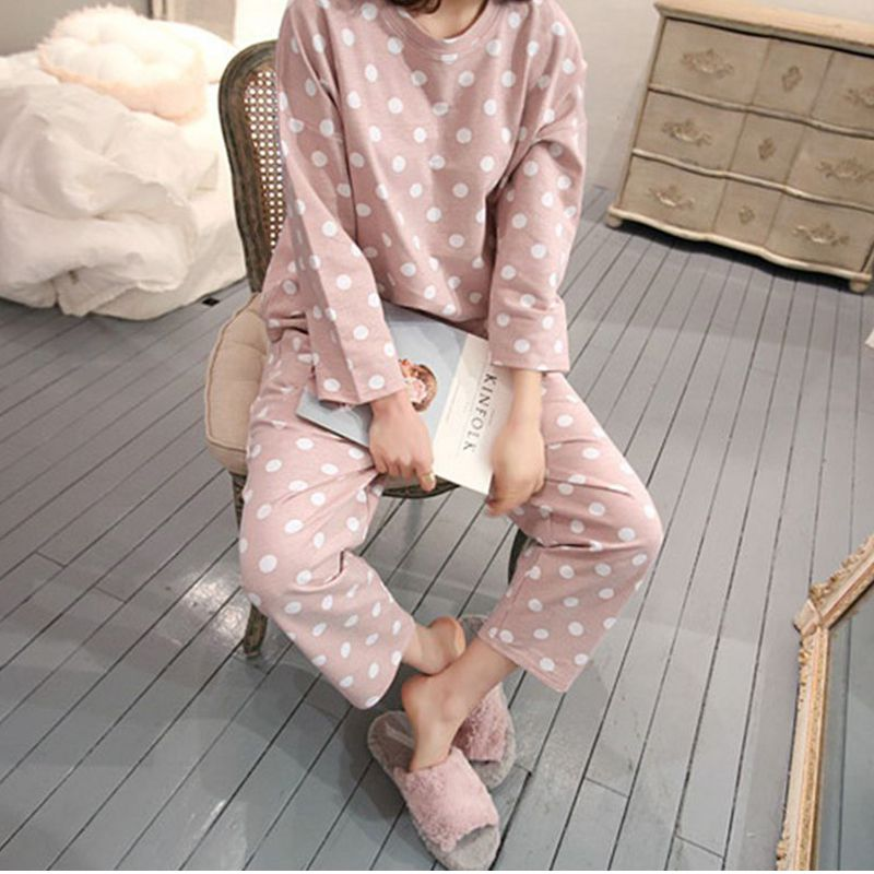 Womens Pajamas Sets Round Neck Cartoon Spring Printed Kawaii Totoro Cartoon Sleepwear Nighty Autumn Pajamas Female W3