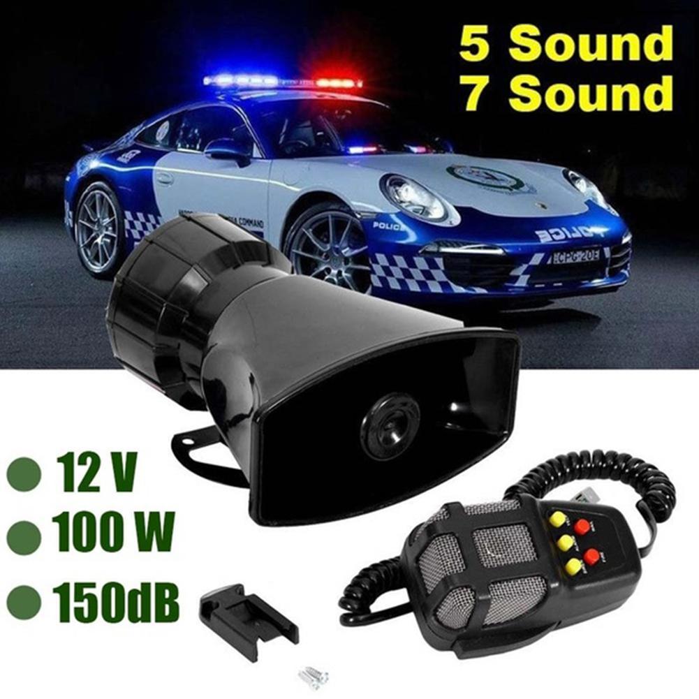 Yfashion 12V 100W 7-Sound Loud Car Warning Alarm Police Fire Siren Air Horn PA Speaker Accessories