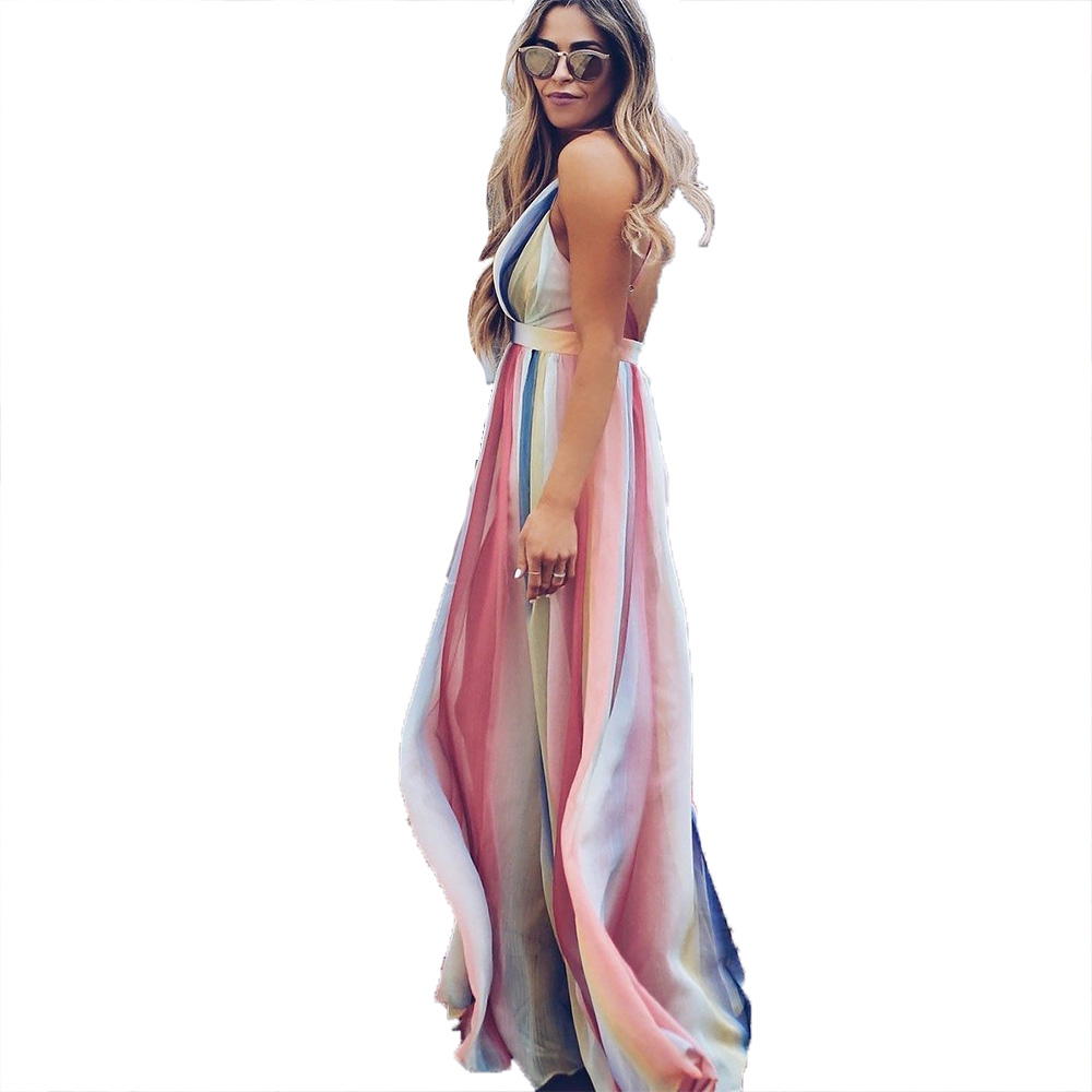 European and American cross-border explosions backless cross straps bohemian print large swing dress