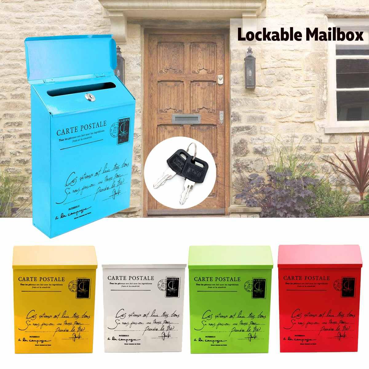 Impermeable al aire libre Post Metal caja de carta buzón montado en la pared con cerradura 2 llaves casilla de correo